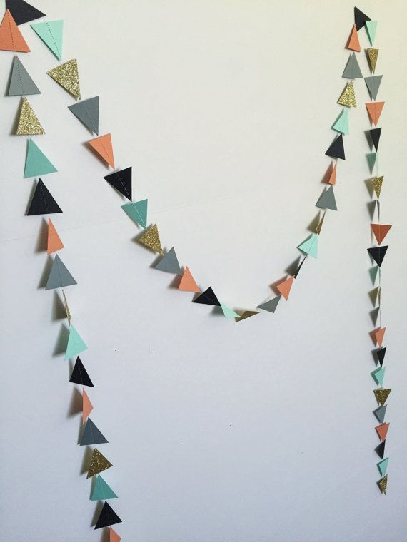 Coral Mint Gold Grey Black Geometric Triangle by APopofConfettiCo