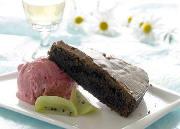 Himmelsk chokoladekage med hindbæris