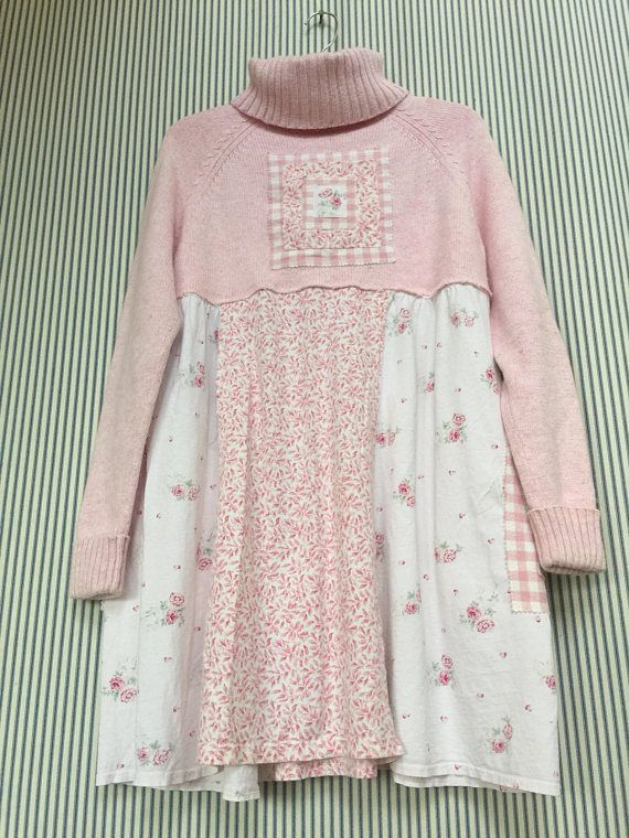 Upcycled clothing Artsy Clothing Pink Sweater Dress