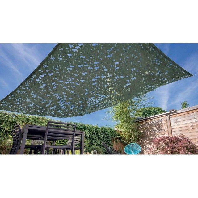 Abritez Votre Terrasse Du Soleil Avec La Voile D Ombrage Carrée Camouflage Et Apportez Une Touche Déco Originale à Votre Voile Ombrage Ombrage Toile Terrasse
