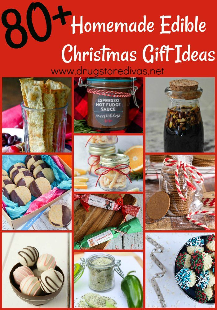 Edible gifts are perfect for holiday gift giving. Check out these 80+ Homemade Edible Christmas Gift Ideas from www.drugstoredivas.net.