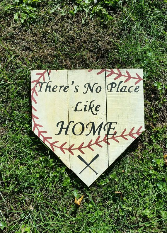 There's No Place Like Home Baseball  Sign by Primitive Paintings