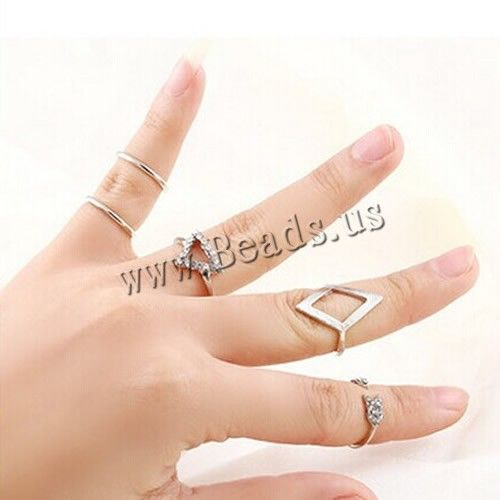 Mid Finger Ring, Zinc Alloy, platinum color plated, with rhinestone, nickel, lead & cadmium free, 14-17mm