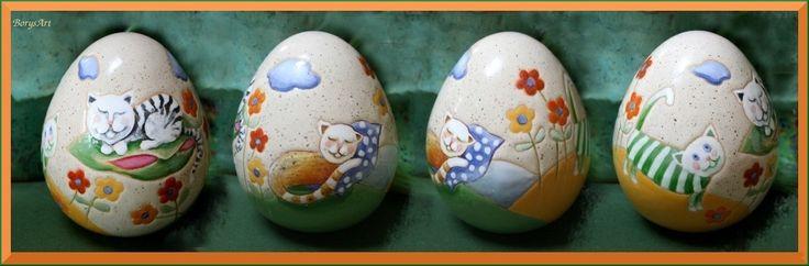 ceramiczne jajo malowane szkliwami (majolika)  z pracowni BorysArt