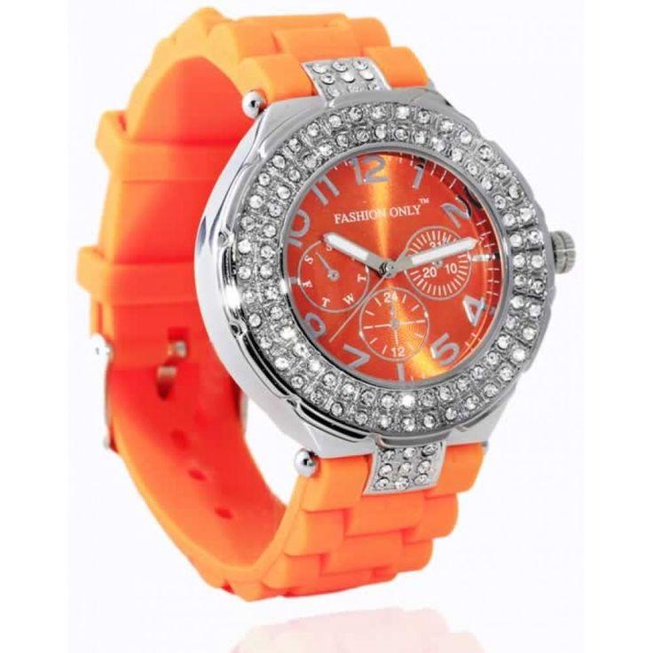 Oranžové dámské hodinky s plastovým řemínkem. Průměr: 4 cm, hodinový strojek: Quartz. Střední velikost.