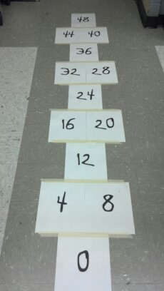 hop scotch - using large motor movements to build math memory. Could use for more than multiplication