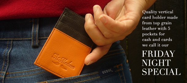Our signature vertical billfold made from top grain leather with 5 pockets for cash and cards available in 4 funky colours. All you need for a fun Friday night.