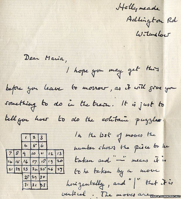 Alan Turing's Letter to Maria explaining the principles of Solitaire. Maria was the young daughter of Turning's sympathetic psychiatrist and friend.  Click through.