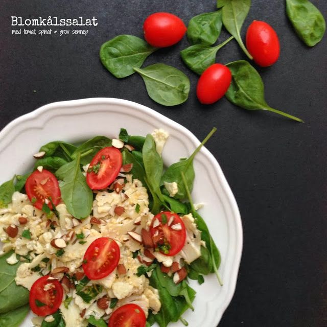 Vanløse blues.....: Blomkålssalat med tomat, spinat & grov sennep