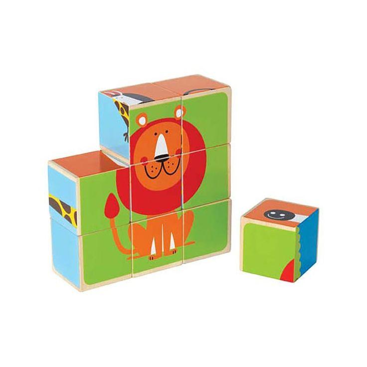Hape+Toys+Block+Puzzle+-+Zoo+Animals