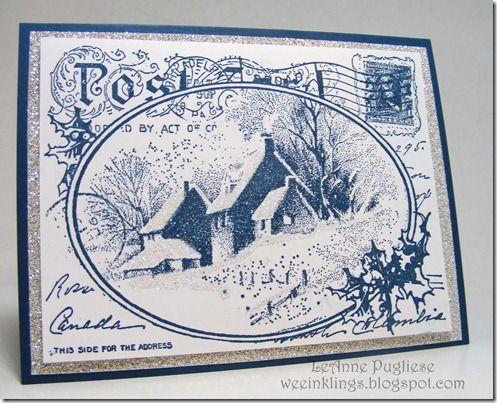 Stampendous Snowy Postcard, SU Midnight Muse ink and card stock, SU silver glimmer paper, SU Dazzling Diamonds glitter