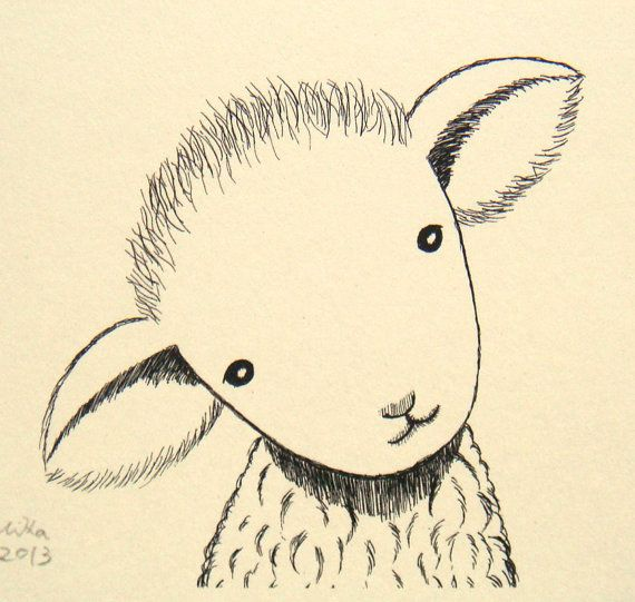 Lamb Nursery Art Sheep Ink Drawing Print Cute Lamb Illustration Print Black and White Vanilla Ivory Rustic Home Wall Decor 4x6 Farm Animal