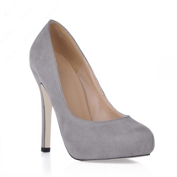 Grey Suede Stiletto Heels Closed Toe Prom/Evening Shoes (225 BRL) ❤ liked on Polyvore featuring shoes, pumps, grey suede pumps, gray pumps, gray suede shoes, wedding shoes and closed-toe pumps