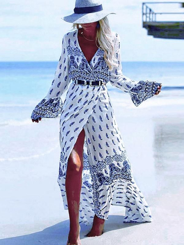Boho Surplice Slit Tribal Printed Long Sleeve Maxi Dresses