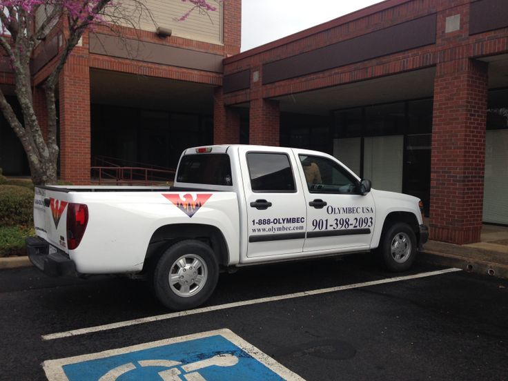 Olymbec truck decals and lettering