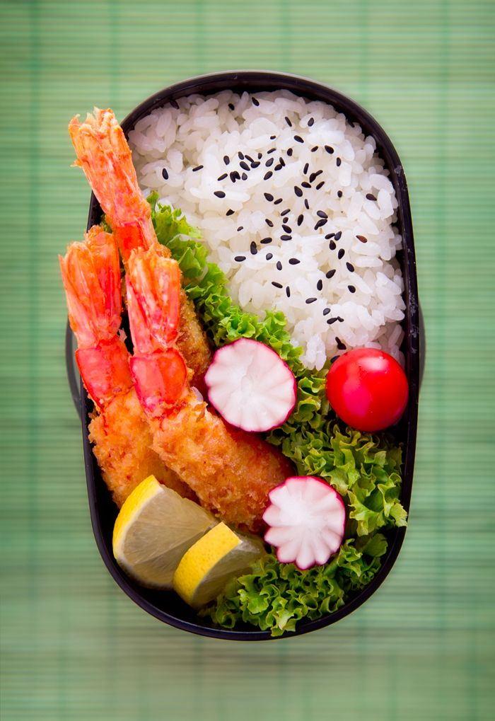 Japanese Ebi Furai (fried prawn) Bento