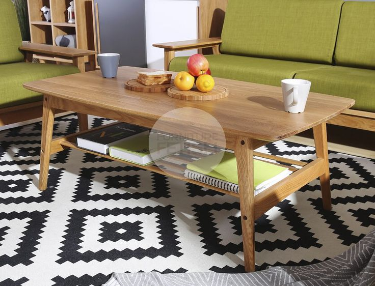 Urban Coffee Table with Shelf - Solid American Oak Natural
