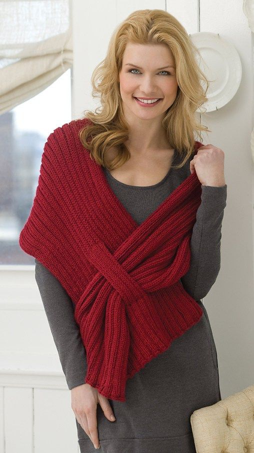 Free knitting pattern for Ribbed Slit Shawl - Kimberly K. McAlindin designed this easy shawl for Red Heart that's perfect for beginners. Three sizes.