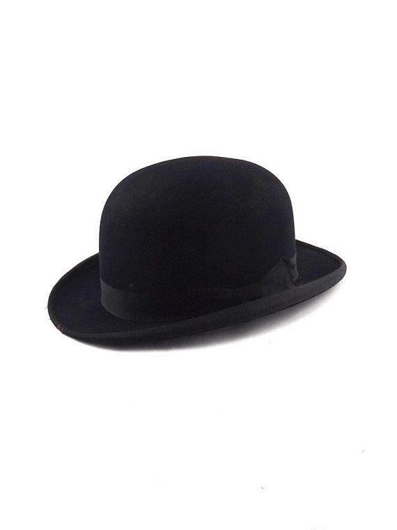 Antique Bowler Hat French Vintage 1900 Man Hat Hipster Burlesque English Dandy Hat