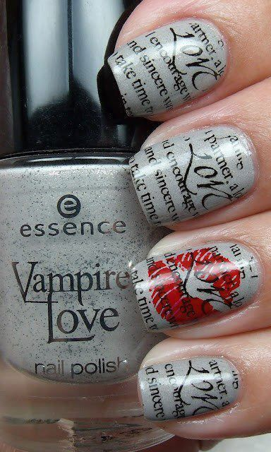 Vampire Love grey nail polish with words and lips design