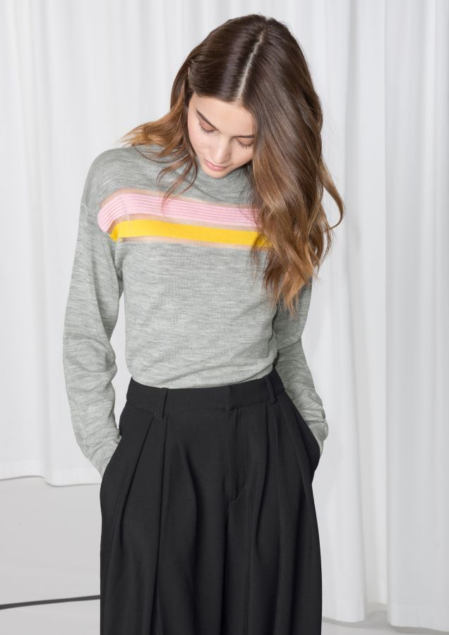 & Other Stories image 2 of Colour Block Merino Wool Sweater in Grey