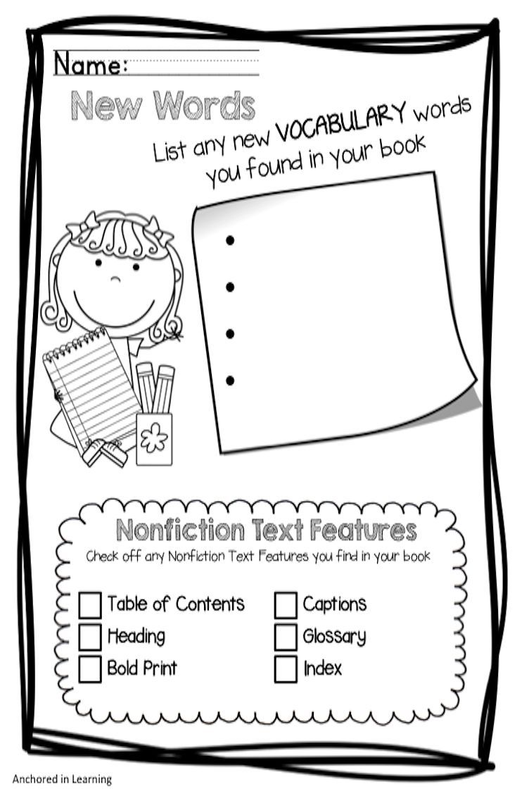 Nonficiton Graphic Organizers Mini Set Text Features First Grade Reading Graphic Organizers Graphic Organizers
