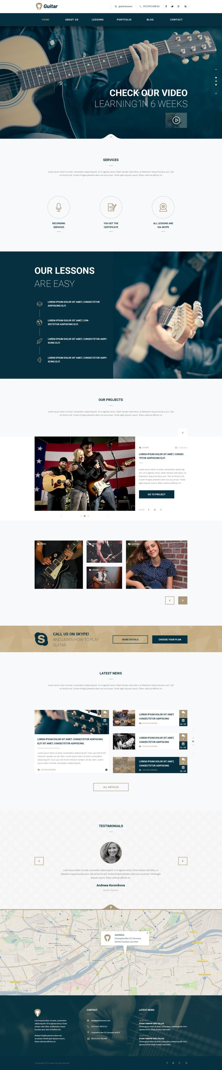 Guitar School Educational Music PSD Is A Very Clean And Modern Designed Find This Pin More On Corporate Website Design Inspiration