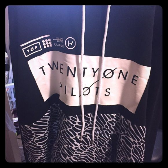 Twenty One Pilots Hoodie (L) Twenty One Pilots hoodie, as seen on their fan site! Originally $60!! Great condition! Worn once! I'm selling it because it's a little too big for me! I could've went for a small, but at the least a medium. Tops Sweatshirts & Hoodies