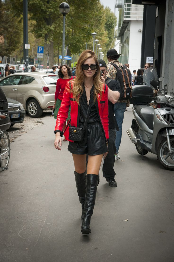 Milan Female Fashion Week SS15 - Chiara Ferragni @ DSQUARED2 show #mfw #milanfashionweek #dsquared2 #outfitideas