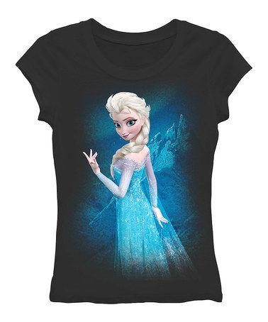 Love this Black Elsa Tee - Juniors by Frozen on #zulily! #zulilyfinds - I love this shirt