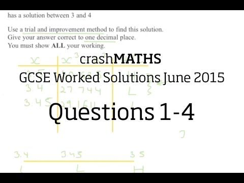 June 2015 Edexcel GCSE Maths 2H - Questions 1-4 - YouTube