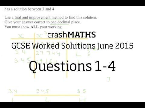 June 2015 Edexcel GCSE Maths 2H - Questions 1-4 - YouTube