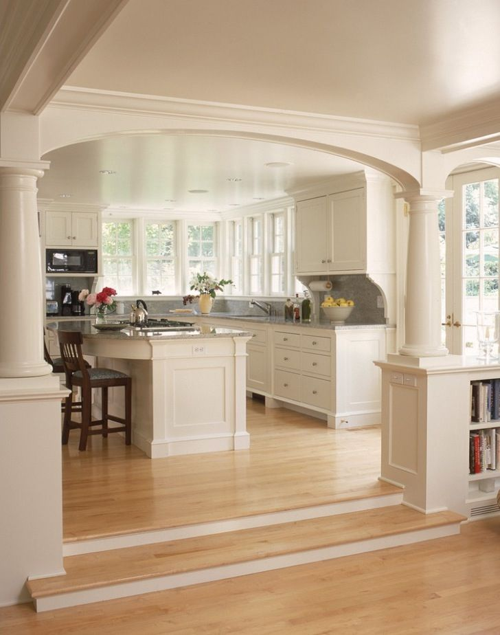 open kitchen into living room concepts with pillars to