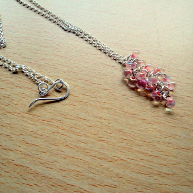 Pink Grape Vine Style Pendant Necklace