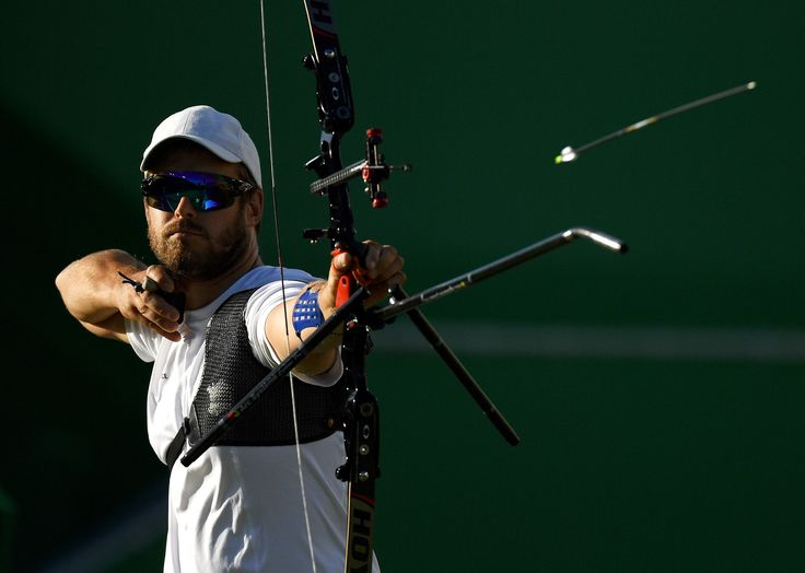 ARCHERY - Jean-Charles Valladont of France competes in the Men's Individual Semifinal