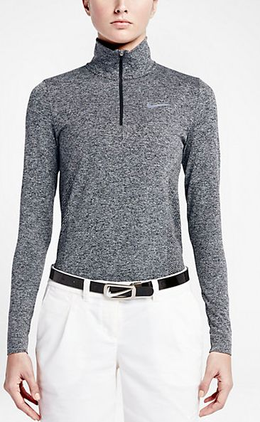 Nike Women's Golf Dri Fit Knit 1/2 Zip The Nike Dri-FIT Knit Half-Zip Women's Golf Top is made with sweat-wicking, stretchy fabric and ergonomic side panels for a comfortable fit and freedom to move on the course. $120.00 Color - Black