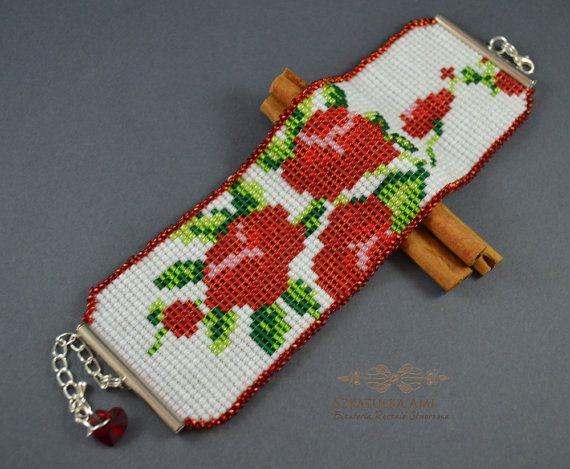 Roses Woven bracelet Loom seed beads Girls by SzkatulkaAmiJewelry, #RosesWovenbracelet, #rosesbracelet, #loombracelet