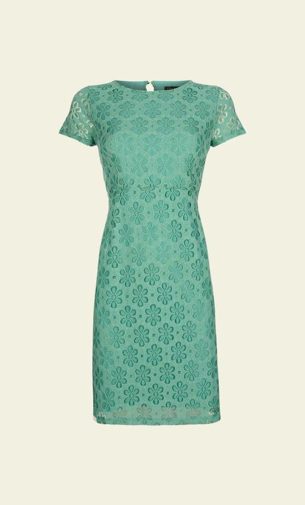 King Louie Mod Dress Uni Lace Opal pastel licht groen bloemenprint jaren 60 stijl vintage retro light green floral print lace 1960s style