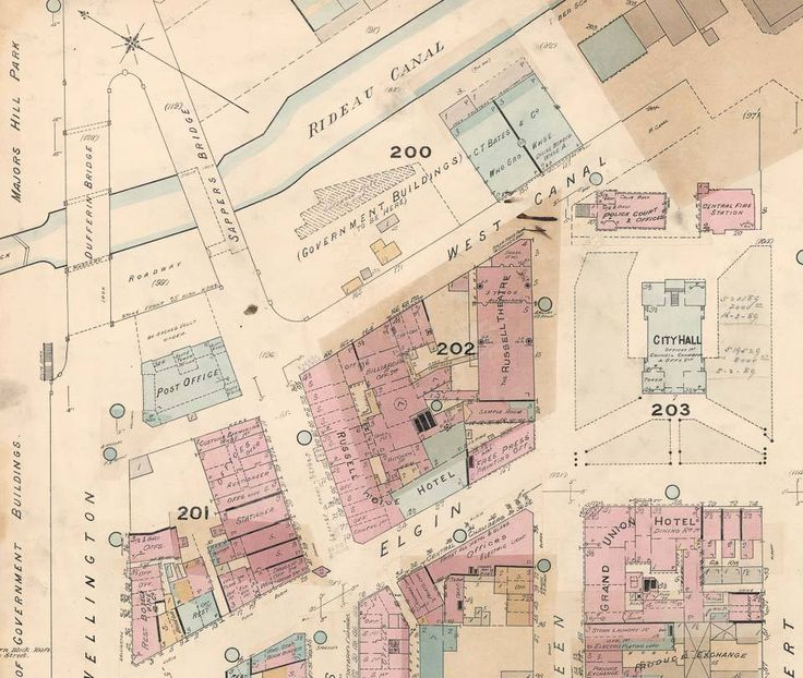 Map of the Day, showing downtown Ottawa circa 1888, revised to 1901. Dufferin and Sapper's bridges are top left, but probably the main thing is to see all the buildings that used to be in what is now Confederation Square, especially the City Hall complex. (LAC Goad Map of Ottawa, 1888-1901)