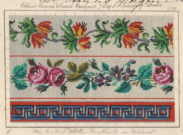 Berlin WoolWork Border Patterns Produced By H F Muller Berlin