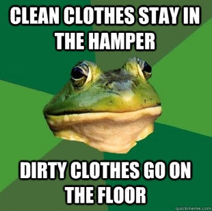foul bachelor frog says: clean clothes stay in the hamper, dirty clothes go on floor. does this mean i'm a bachelor? lololol