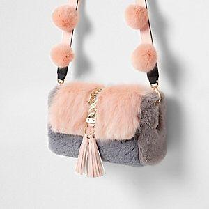 Faux Fur Multi Pom Pom Crossbody Bag from River Island R680,00