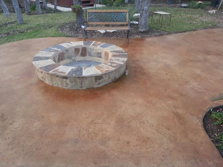 Stained Concrete Patios | Stained Concrete Patio With Built In Fire Pit    North By