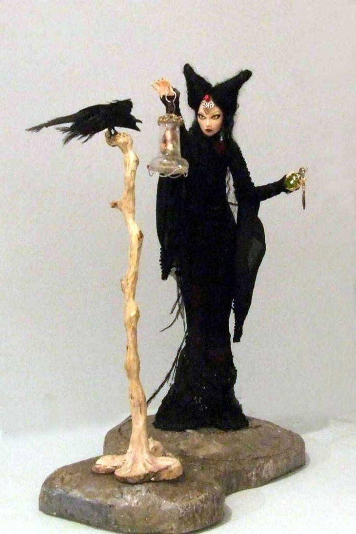 """Briaith"" #dolls, #clay, #evil, #ravens, #modeling, #sculpture, #gothic"