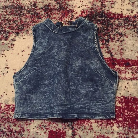 CHARLOTTE RUSSE denim crop top Super cute, nice quality denim cropped top. Dark acid wash style. Gold zipper in back. Gets tons of compliments. Only selling because I have another one and don't need 2. SAME DAY SHIPPING! Will consider trade. Charlotte Russe Tops Crop Tops