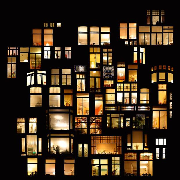 Photographer Anne-Laure House photographs illuminated windows at night in cities around the