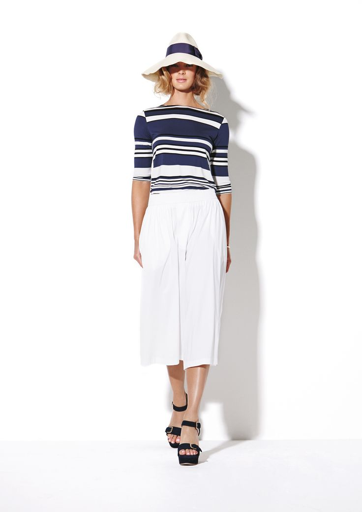 Resort Stripe Boat Neck Top and Microprene Culottes
