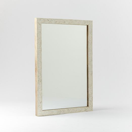 "Parsons Small Wall Mirror - Bone Inlay | West Elm 24""w x 3""d x 34""h. $299"