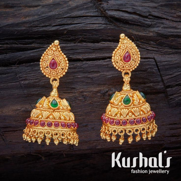 South Indian Traditional Alluring Silver Temple Ruby Green Jhumka Earrings with Hanging Beads & spinal stones.