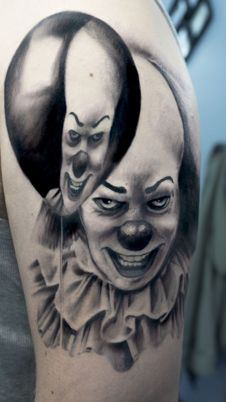 Part of a horror sleeve tattoo. #IT #Pennywise #clown #scarytattoo #realism #balloon